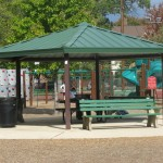 central gazebo with benches
