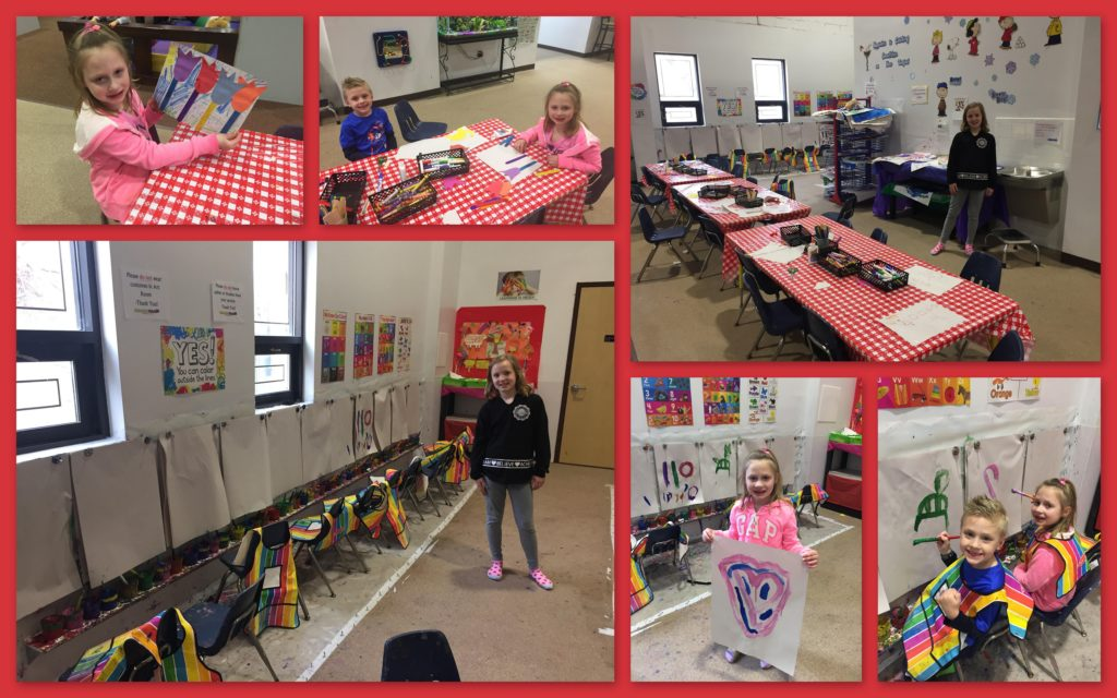 Arts and crafts studio with markers, crayons, scissors, glue, popsicle sticks, yarn, paint