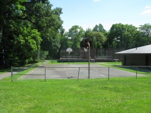 basketball courts and bathroom on right