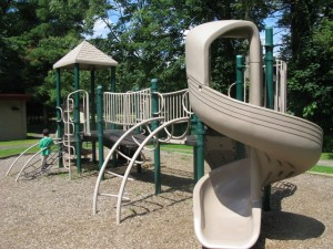 old playground with woodchips
