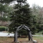Whimsical statues adorn the gardens in front of the museum