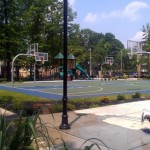 View of basketball court in middle of park