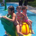 Rachel M., Emma B., and Mia B. enjoying the sprayground