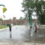 Splash Pad with lots of sprayers (surface is cement though, not a rubber surface)