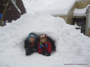 Picnic Table transformed to igloo- Connor and Aiden
