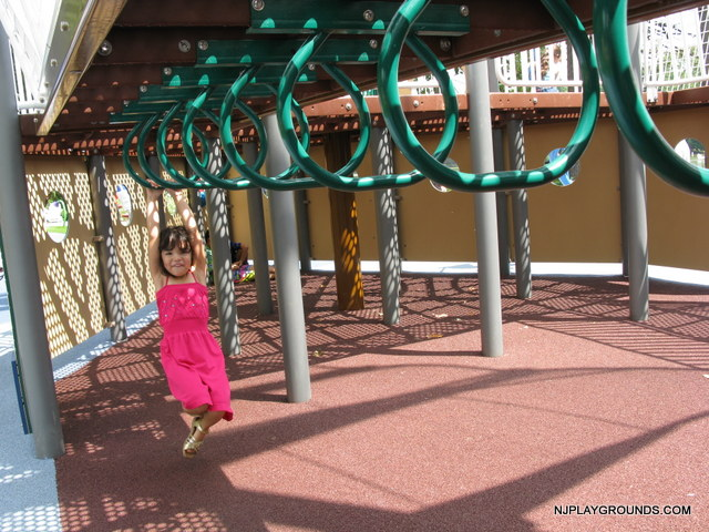 Little ones can hang out at the bottom of the playground that gets a little shade